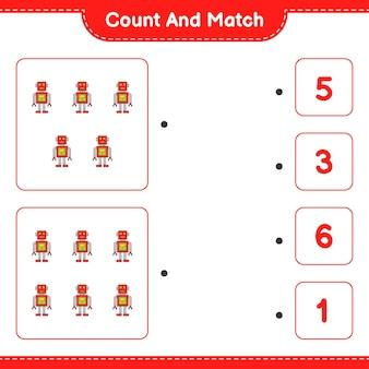 Policz i dopasuj policz liczbę postaci robota i dopasuj właściwe liczby