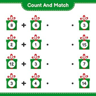 Policz i dopasuj, policz liczbę pudełek upominkowych i dopasuj do odpowiednich liczb. gra edukacyjna dla dzieci