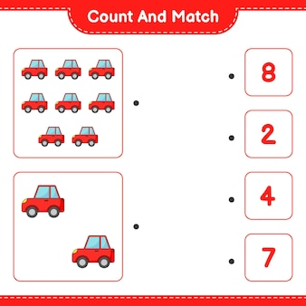 Policz i dopasuj policz liczbę samochodów i dopasuj właściwe liczby