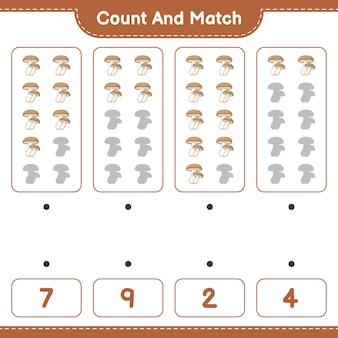 Policz i dopasuj policz liczbę shiitake i dopasuj właściwe liczby
