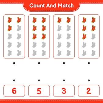 Policz i dopasuj policz liczbę skarpet i dopasuj właściwe liczby