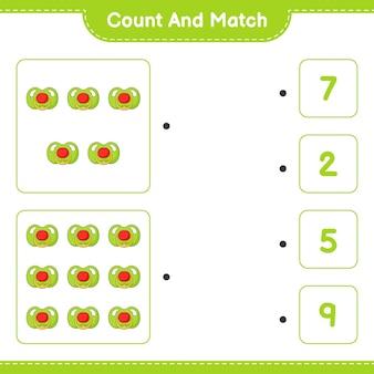 Policz i dopasuj policz liczbę smoczków i dopasuj właściwe liczby