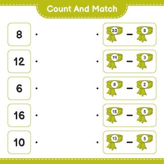Policz i dopasuj policz liczbę szalików i dopasuj właściwe liczby
