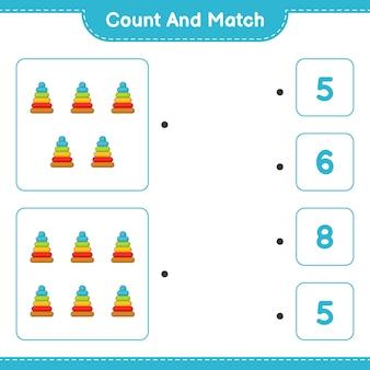 Policz i dopasuj policz liczbę zabawek piramidy i dopasuj właściwe liczby