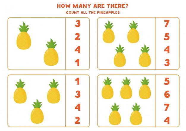 Policz ilość ananasów i zakreśl prawidłową odpowiedź. gra edukacyjna dla dzieci. zabawny arkusz dla przedszkolaków.