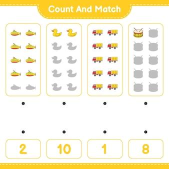 Policz liczbę gumowych bębnów łodzi podwodnej z gumowymi kaczkami i dopasuj je do właściwych liczb