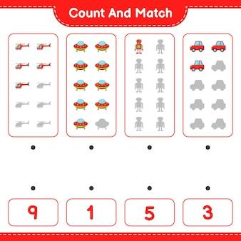 Policz liczbę helikopterów ufo robot character car i dopasuj odpowiednie liczby