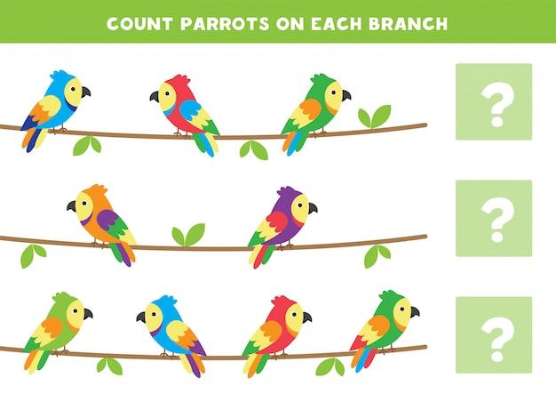 Policz liczbę papug na każdej gałęzi. gra matematyki dla dzieci.