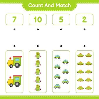 Policz liczbę train robot character car ufo i dopasuj odpowiednie liczby
