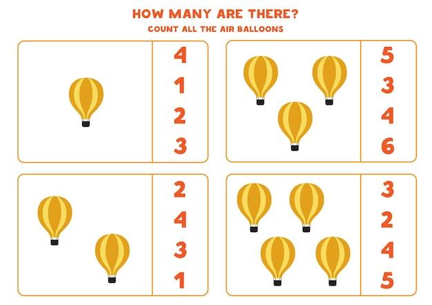 Policz wszystkie balony na ogrzane powietrze i zakreśl właściwą odpowiedź. gra matematyczna.
