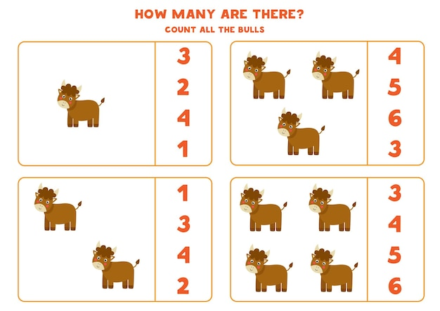 Policz wszystkie byki hodowlane i zakreśl prawidłowe odpowiedzi. gra matematyczna dla dzieci.
