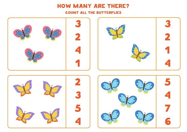 Policz wszystkie kolorowe motyle i zakreśl prawidłowe odpowiedzi. gra matematyczna dla dzieci.