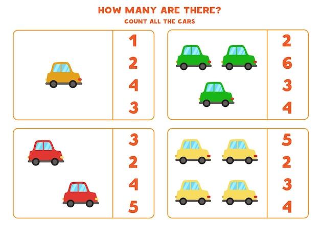 Policz wszystkie kolorowe samochody i zakreśl prawidłowe odpowiedzi. gra matematyczna dla dzieci.