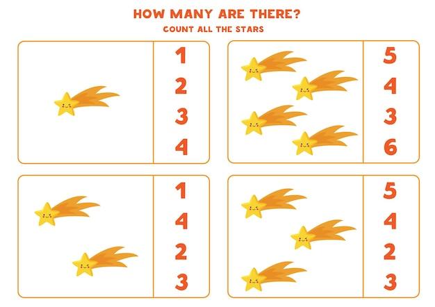 Policz wszystkie kosmiczne gwiazdy i wpisz właściwą liczbę w pole. gra licząca dla dzieci.