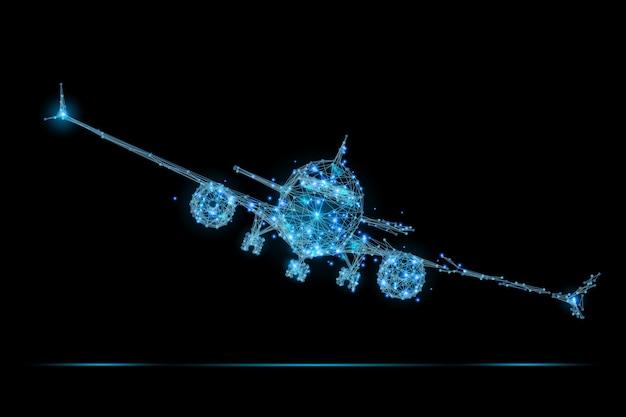 Poligonalny samolot pasażerski low poly
