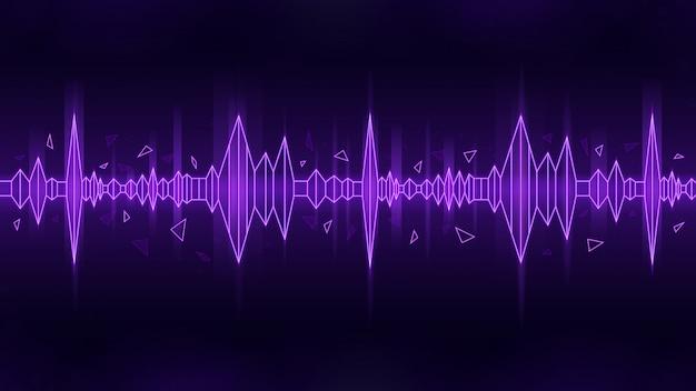Poligonalny styl fali dźwiękowej w purpurowym motywie na ciemnym tle