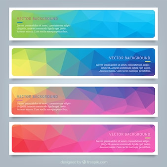Poligonowe kolorowe banery internetowe