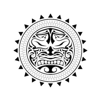 Polinezyjski projekt maski tatuażu. przerażające maski w rodzimym polinezyjskim ornamentie. ilustracja wektorowa na białym tle