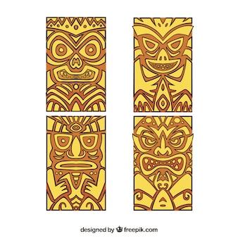 Polinezyjskie maski z ręcznie rysowanym stylem