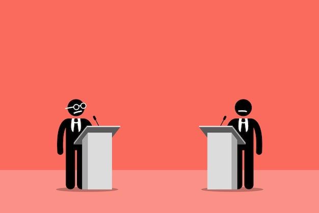 Politycy debatujący na scenie. grafika wektorowa przedstawia prezydenckie debaty, kłótnie i konkursy.