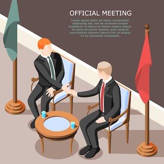 Politycy podczas uścisku dłoni na oficjalnym posiedzeniu izometrycznym