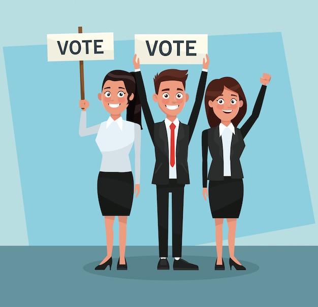 Politycy pracy zespołowej w kreskówkach kampanii głosowania