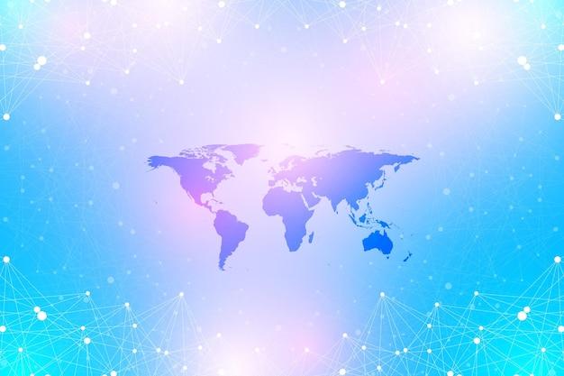 Polityczna mapa świata z globalną technologią sieciową koncepcja wizualizacji danych cyfrowych naukowa ...