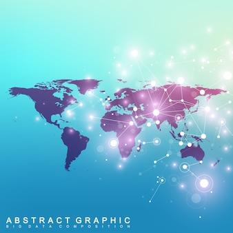 Polityczna mapa świata z koncepcją sieci globalnej technologii. naukowe cybernetyczne związki cząsteczkowe.