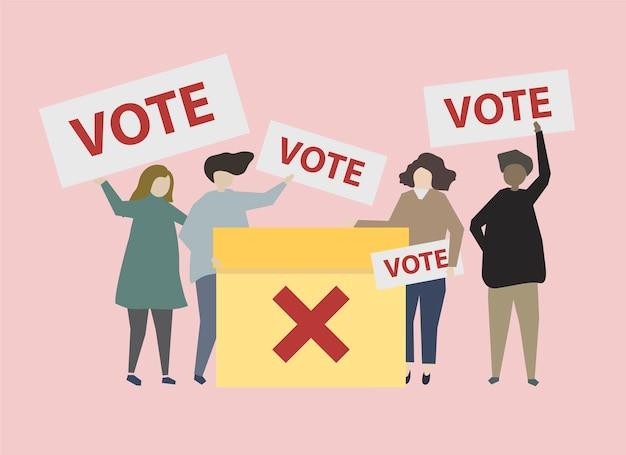 Politycznie zaangażowani ludzie z ilustracjami
