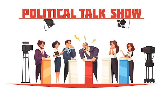 Polityczny talk show z grupą ludzi stojących za trybunami na scenie i prowadzących dyskusję