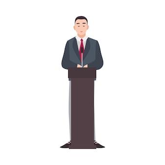 Polityk stojący na mównicy i wygłaszający publiczne przemówienie