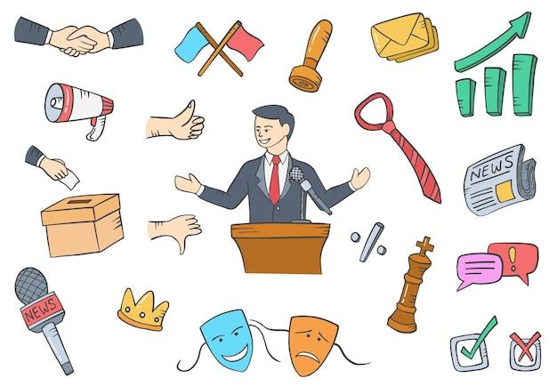 Polityk w pracach politycznych lub karierze zawodowej doodle ręcznie rysowane zestawy kolekcji z ilustracją wektorową w stylu płaskiego konturu