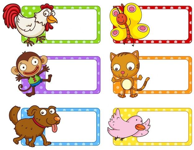 Polka dot etykiety z cute zwierząt