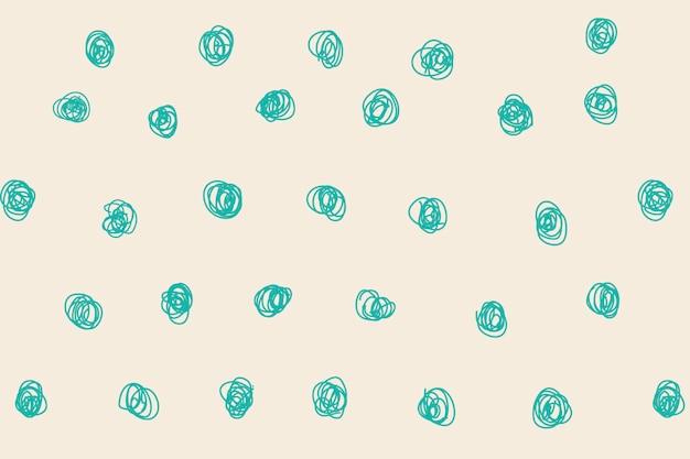 Polka dot wzór tła, zielony doodle wektor, estetyczny design