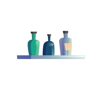 Półka kreskówka płaski wektor z różnych butelek na białym tle na puste tło-nowoczesne meble do domu, sprzęt agd, koncepcja elementów wnętrza pokoju, projektowanie banerów witryny sieci web