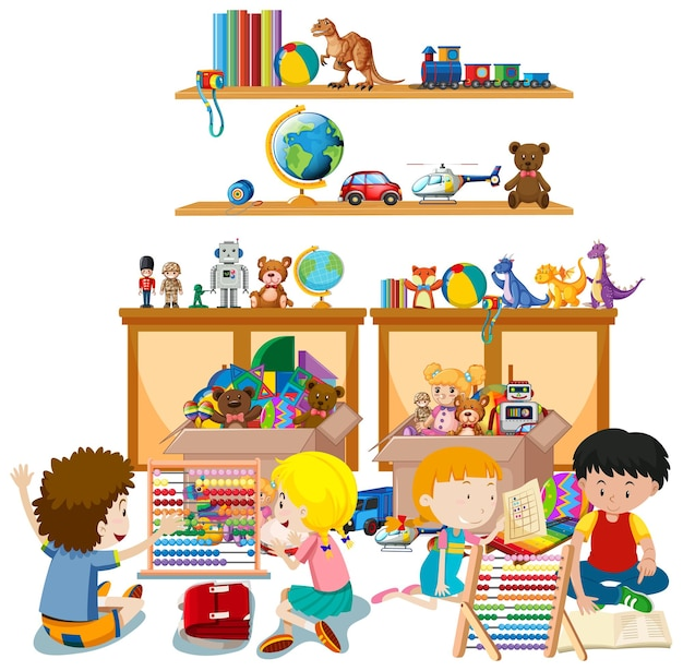 Półka pełna książek i zabawek na białym tle