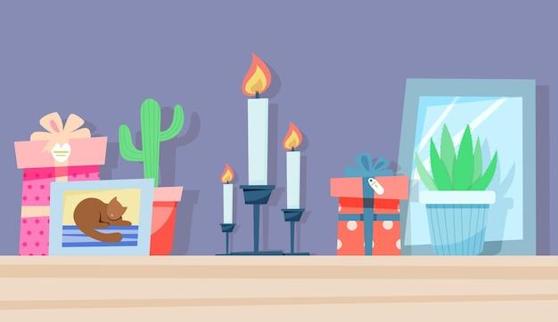 Półka w przedpokoju ze świecami i roślinami