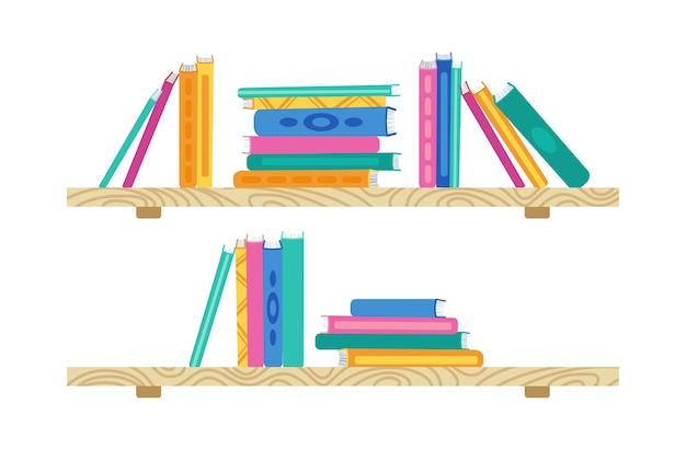 Półka z książką kreskówki. drewniane regały w bibliotece. płaski stos kolekcji książek. półka biurowa, studium wnętrza ściany, regał szkolny i regał. ilustracja