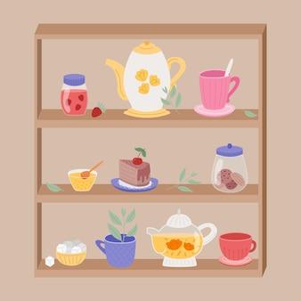 Półki kuchenne z akcesoriami do herbaty