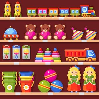 Półki przechowuj z dziecinnymi zabawkami. wnętrze sklepu dla dzieci. zestaw lalka, niedźwiedź, wiadro, piłka, grzechotka, piramida zabawkowa, ciężarówka, ufo, rakieta, trąba powietrzna i pociąg. kolorowa ilustracja