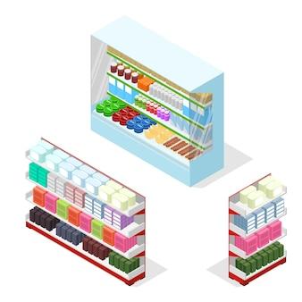 Półki sklepowe lub supermarkety z zestawami produktów w widoku izometrycznym.
