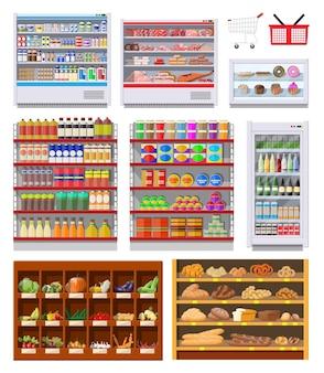 Półki supermarketów z artykułami spożywczymi. towary i produkty. jedzenie i napoje w pudełkach i butelkach, chleb, warzywa. różne opakowania na stojakach. centrum handlowe, sklep, sklep detaliczny. wektor ilustracja płaski styl