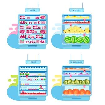Półki supermarketów z zestawem płaskich ilustracji produktów. targ rolników, wnętrze sklepu z jedzeniem.
