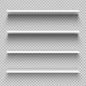 Półki z białymi sklepami