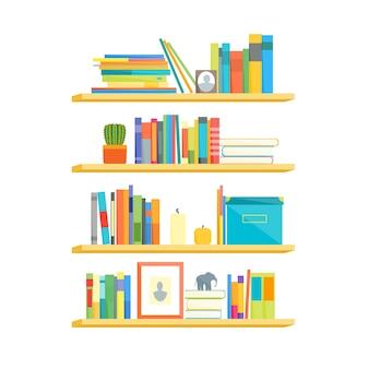 Półki z kolorowych książek w stylu płaska konstrukcja
