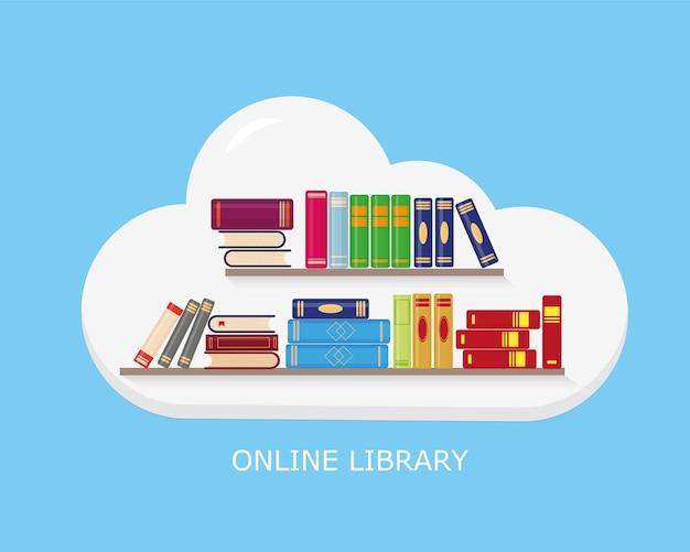 Półki z książkami do nauki czytania w chmurze lub edukacji na niebieskim tle