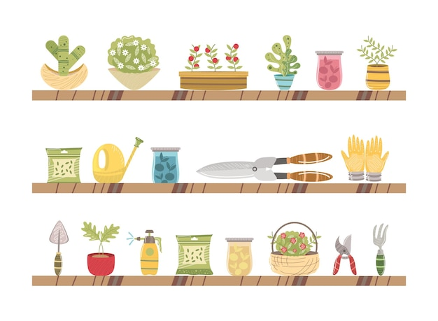 Półki z narzędziami ogrodniczymi ilustracja kwiaty roślin