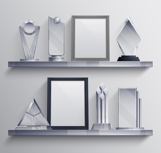 Półki z trofeami realistyczny zestaw z symbolami zwycięzcy konkursu na cokole