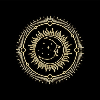 Półksiężyc z ornamentem ludzkiej twarzy w stylu antycznym grawerowanie wektor kart tarota tatuaż boho