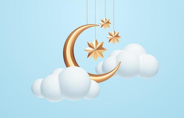 Półksiężyc, złote gwiazdy i białe chmury w stylu 3d na białym tle na niebieskim tle. sen, kołysanka, projekt tła marzeń na baner, broszurę, plakat. ilustracja wektorowa eps10
